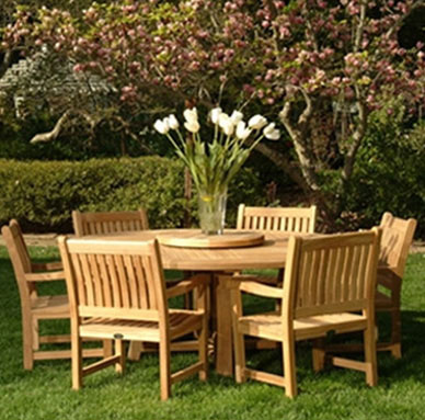 wood outdoor table and chairs