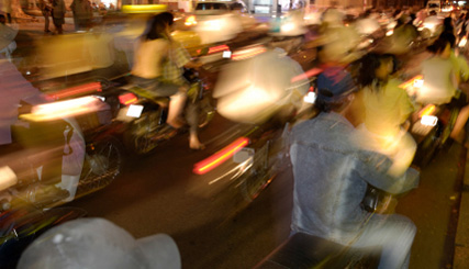 mopeds in evening