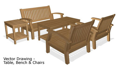Vector Drawing-Table, Bench and Chairs